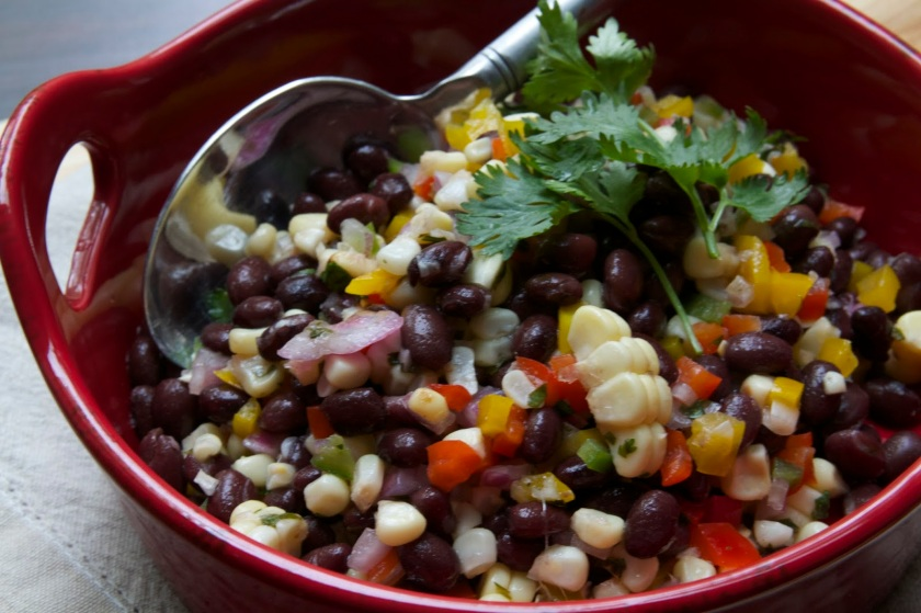 Grilled Corn and Black Bean Salad with Lime Cilantro Vinaigrette