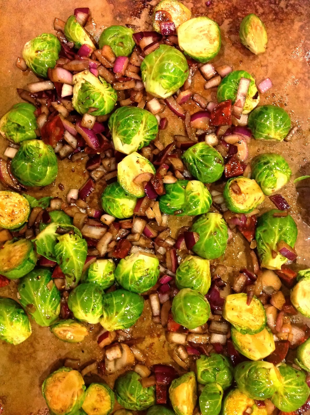 Balsamic Vinegar Roasted Brussels Sprouts with Chorizo and Red Onion ...
