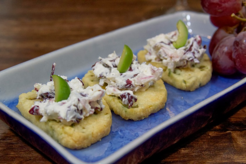 Manchego Cheese Crackers with Creamy Radicchio Spread