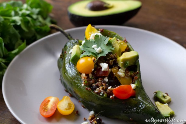 Quinoa and Black Bean Stuffed Poblano Peppers