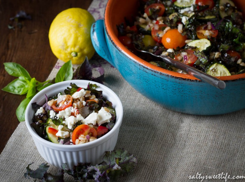 Purple Kale and Farro Salad