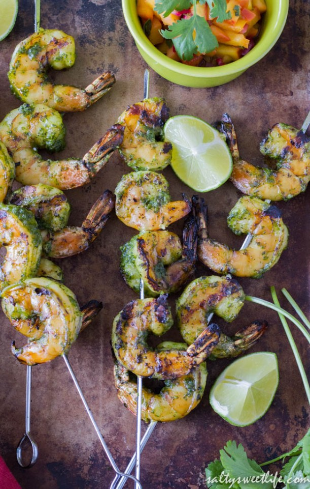 Ponzu-marinated Shrimp Skewers with Nectarine Chutney