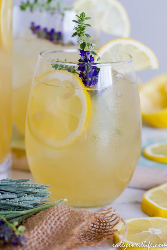 Lavender-Thyme Lemonade Fizz - Salty Sweet Life