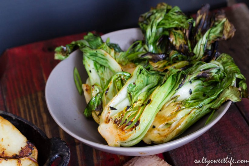 Bok Choy, flash grilled and basted with a little of the Sriracha-Ponzu glaze! Delicious!