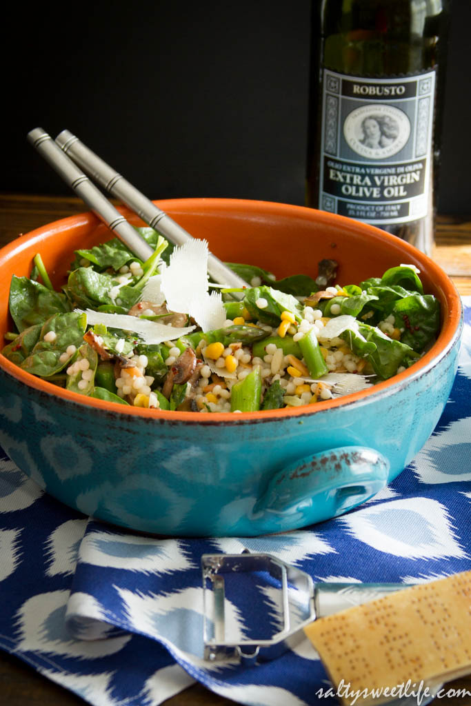 Israeli Couscous, Asparagus and Mushroom Salad - Salty Sweet Life