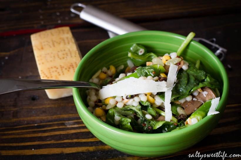 Israeli Couscous, Asparagus and Mushroom Salad - Salty Sweet Life