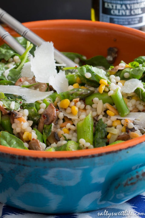 Israeli Couscous, Asparagus and Mushroom Salad with Red Wine Vinaigrette - Salty Sweet Life