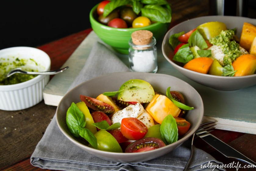 Heirloom Tomato and Burrata Cheese Caprese Salad - Salty Sweet Life