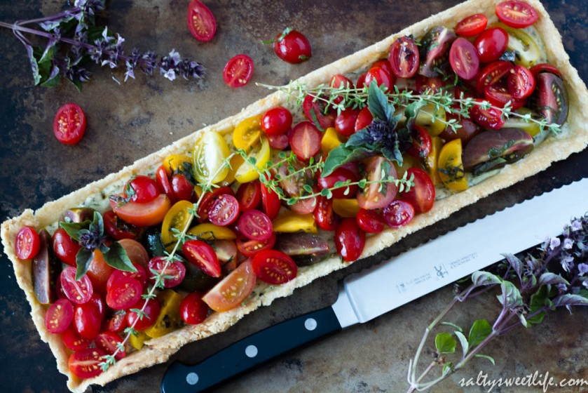 Heirloom Tomato and Herbed Ricotta and Goat Cheese Tart | Salty Sweet Life