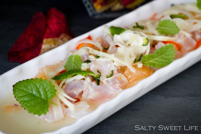 Rockfish and Red Grapefruit Ceviche with Quick Pickled Fennel - Salty Sweet Life