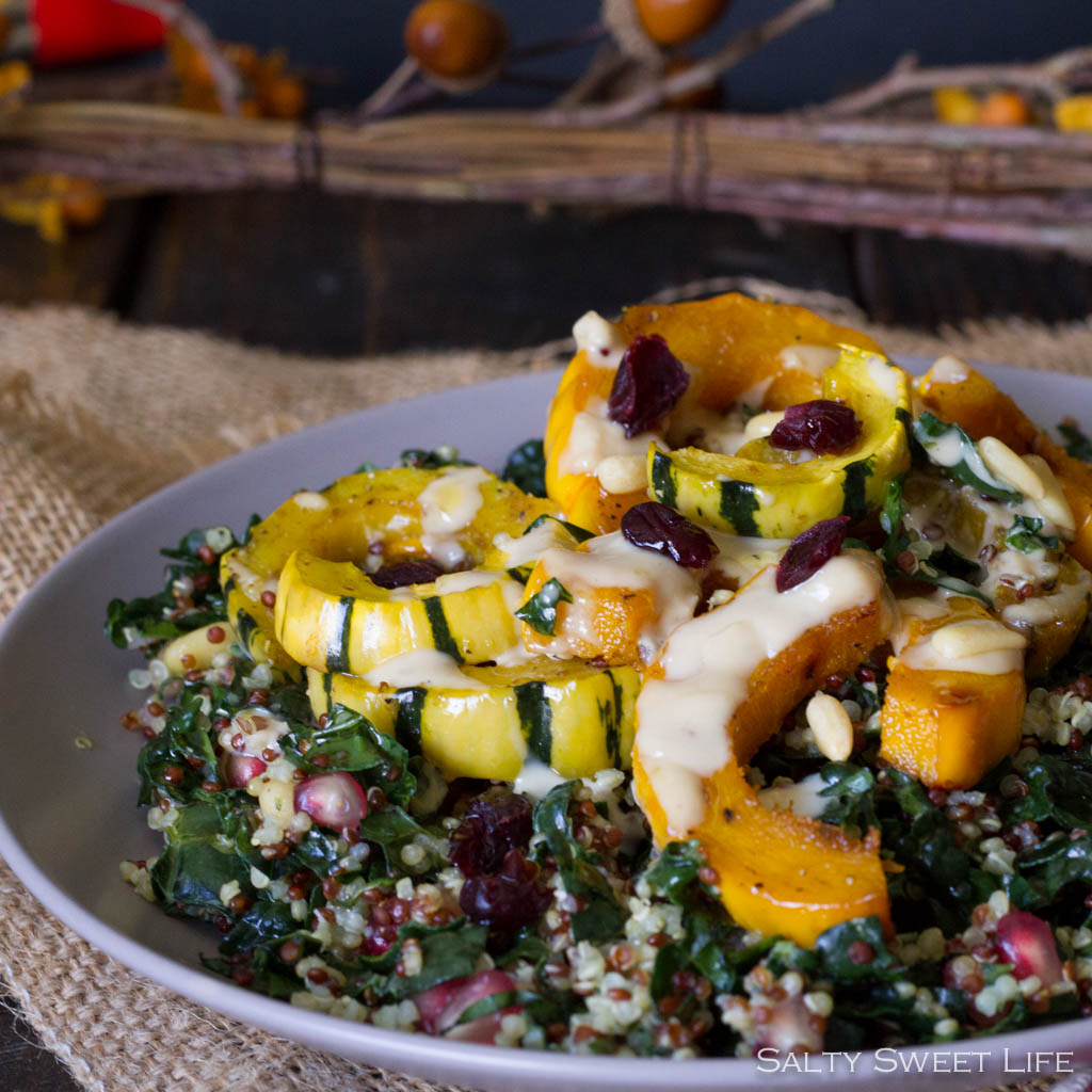 Autumn Quinoa and Kale Salad with Maple Roasted Delicata Squash