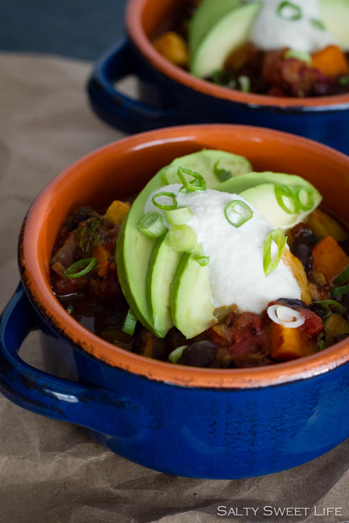 Smoky Chipotle Vegan Chili with Cashew Cream - Salty Sweet Life