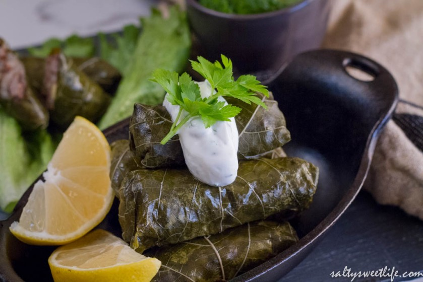 Ottolenghi's Stuffed Grape Leaves with Lamb and Minted Yogurt Sauce