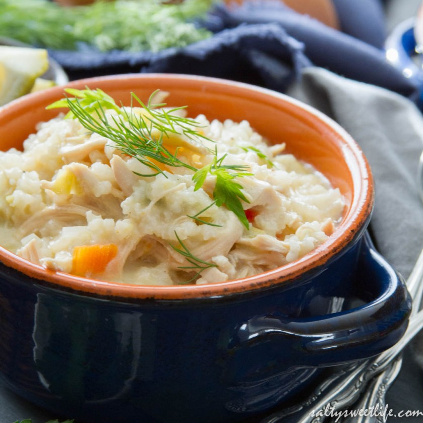 Easy Avgolemono Soup: Greek Chicken and Rice soup with lemon and egg - Salty Sweet Life
