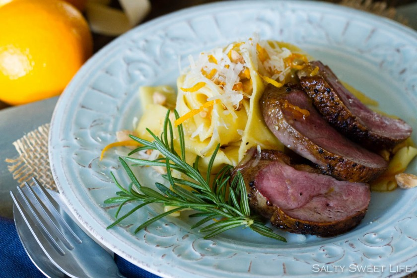Tagliatelle with Caramelized Orange and Almonds, plus Seared Duck Breast - Salty Sweet Life