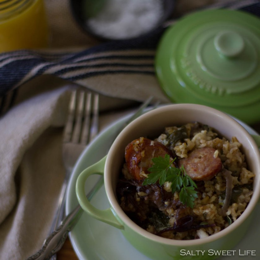 Savory Baked Oatmeal with Goat Cheese and Caramelized Onion - Salty Sweet Life
