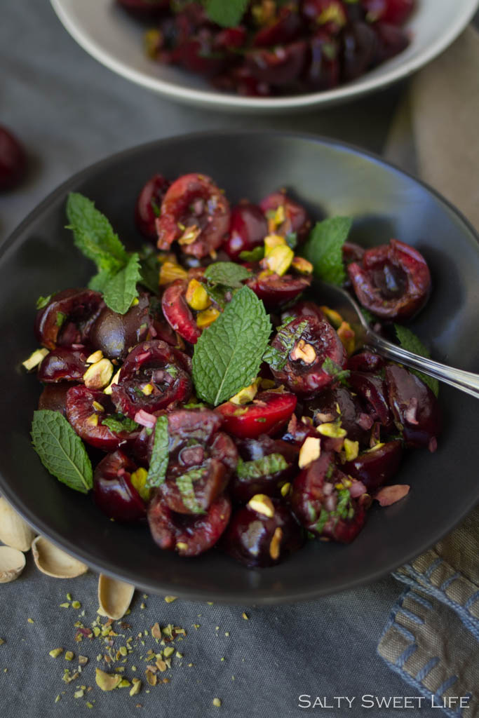 Sweet and Savory Cherry, Mint and Pistachio Salad - Salty Sweet Life